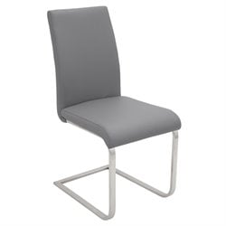 Stainless Steel Dining Chair in Gray (Set of 2)