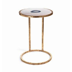 Zodax Aquarius Agate and Marble Inlay Side Table in White