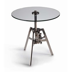 Zodax Milan Adjustable Glass and Polished Nickel Side Table in Silver