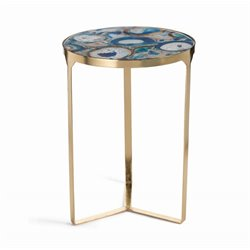 Zodax La Sardaigne Blue Agate End Table in Gold