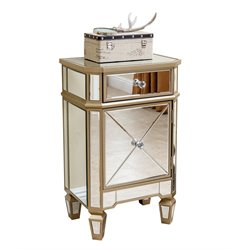 Abbyson Living Alexis Mirrored End Table in Beige
