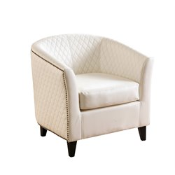 Abbyson Living Christopher Tufted Quilted Leather Armchair in White