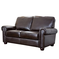 Abbyson Living Bellagio Leather Loveseat in Brown