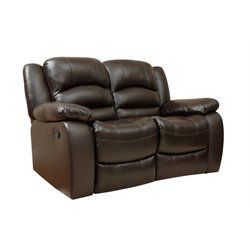 Abbyson Living Ashlyn Leather Reclining Loveseat in Brown