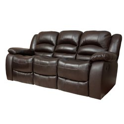 Abbyson Living Ashlyn Leather Reclining Sofa in Brown