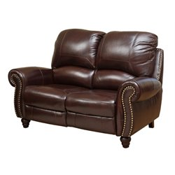 Abbyson Living Cambridge Leather Pushback Loveseat in Dark Burgundy