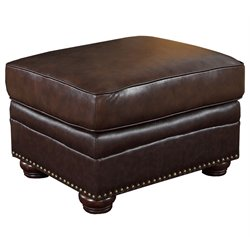 Abbyson Living Palazzo Leather Ottoman in Dark Brown