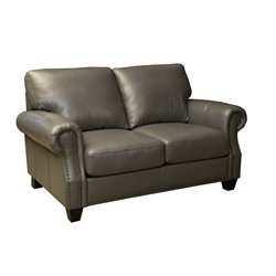 Abbyson Living Lenny Leather Loveseat in Gray