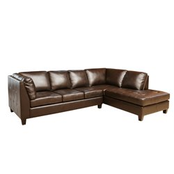 Abbyson Living Oliver Leather Sectional in Brown