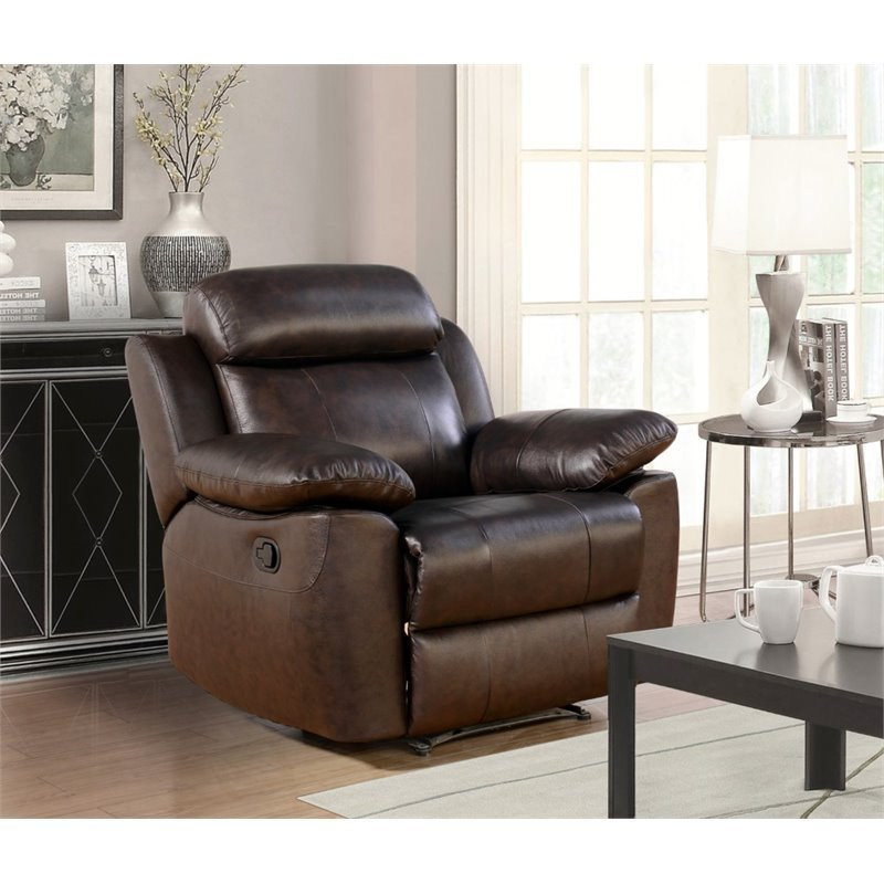 Abbyson living brody top grain leather recliner in brown for Abbyson living sedona leather chaise recliner