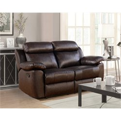 Abbyson Living Brody Top Grain Leather Reclining Loveseat in Brown
