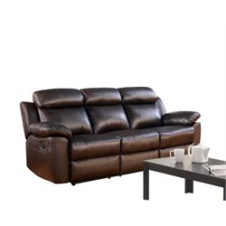 Abbyson Living Brody Top Grain Leather Reclining Sofa in Brown