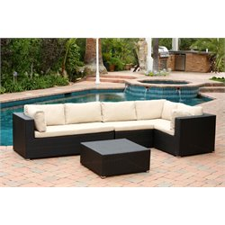 Abbyson Living Oscar Outdoor Wicker Sectional and Ottoman Set in Black