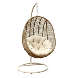 Abbyson Living Hampton Patio Wicker Swing Chair in Light Brown