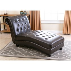 Abbyson Living Maddox Chaise in Dark Brown