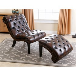 Abbyson Living Brantley Leather Chaise Lounge with Ottoman in Brown