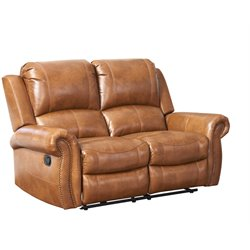 Abbyson Living Winston Leather Reclining Loveseat in Brown