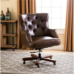 Abbyson Living Wyatt Leather Office Chair in Brown