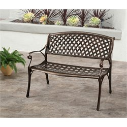 Abbyson Living Violet Cast Aluminum Bench in Copper