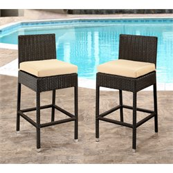 Caden Outdoor Wicker Bar Stools