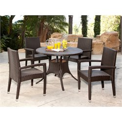 Abbyson Living Sydney Outdoor Wicker 5 Piece Dining Set in Espresso