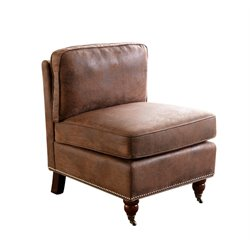 Abbyson Living Harper Antique Armless Chair in Brown