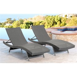Abbyson Living Elliott Outdoor Wicker Chaise in Gray (Set of 2)