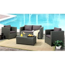 Reagan Outdoor Wicker 4 Piece Sofa Set
