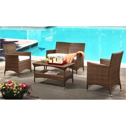 Abbyson Living Simon Outdoor 4 Piece Wicker Chat Set in Beige