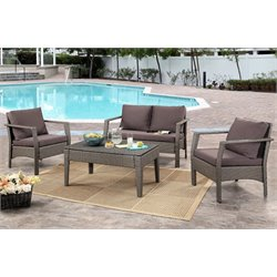 Abbyson Living Bently Outdoor Wicker 4 Piece Sofa Set in Gray