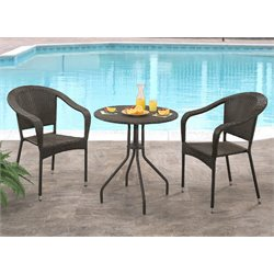 Abbyson Living Lauren Outdoor 3 Piece Bistro Set in Espresso