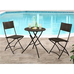 Abbyson Living Delilah Outdoor 3 Piece Bistro Set in Espresso