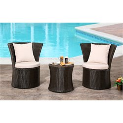 Abbyson Living Victor Outdoor 3 Piece Bistro Set in Espresso
