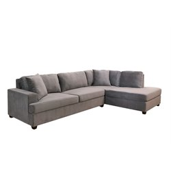 Abbyson Living Veronica Velvet Sectional in Gray
