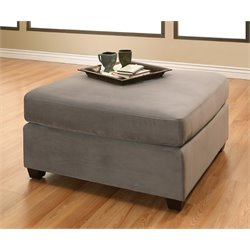 Abbyson Living Veronica Velvet Ottoman in Gray