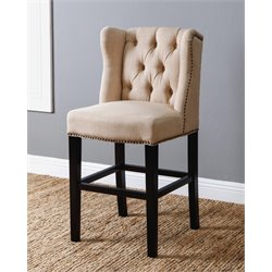 Abbyson Living Scarlett Tufted Linen Wingback Counter Stool in Cream
