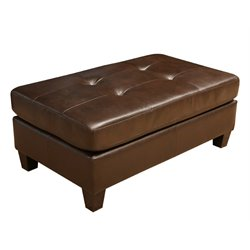Abbyson Living Oliver Leather Ottoman in Brown