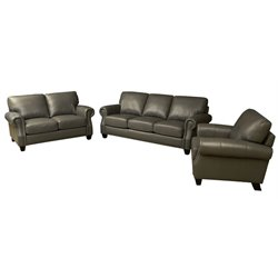 Abbyson Living Lenny Leather Sofa Set in Gray