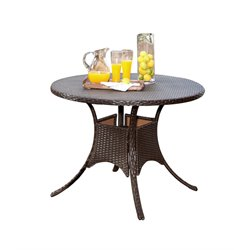 Abbyson Living Cabana Outdoor Wicker Dining Table in Espresso