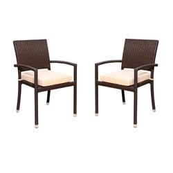 Abbyson Living Harper Outdoor Dining Chair in Espresso (Set of 2)