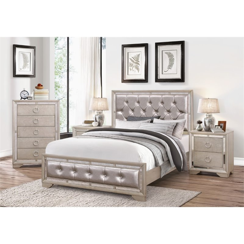 mirrored bedroom furniture abbyson living beaumont leather tufted 4 king 12422