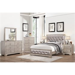 Beaumont Leather Tufted 6 Piece Bedroom Set