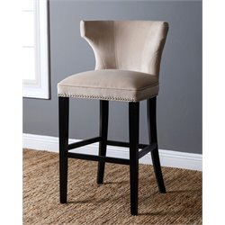 Abbyson Living Nolan Velvet Bar Stool in Ivory
