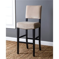 Abbyson Living Stella Velvet Bar Stool in Ivory