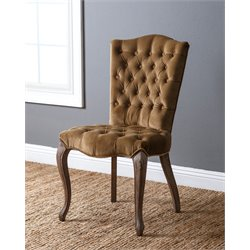 Abbyson Living Adrian Vintage Velvet Tufted Dining Chair in Brown