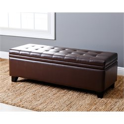 Abbyson Living Asher Leather Tufted Storage Ottoman in Dark Brown