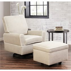 Abbyson Living Grayson Swivel Glider with Gliding Ottoman in Gray