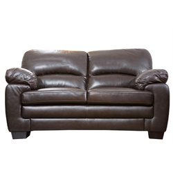 Abbyson Living Lalia Top-Grain Leather Loveseat in Dark Brown