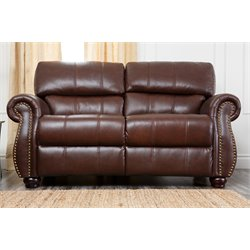 Abbyson Living Lea-Lee Top-Grain Leather Loveseat in Burgundy