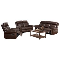 Abbyson Living Ellie 3 Piece Top-Grain Leather Reclining Set in Brown